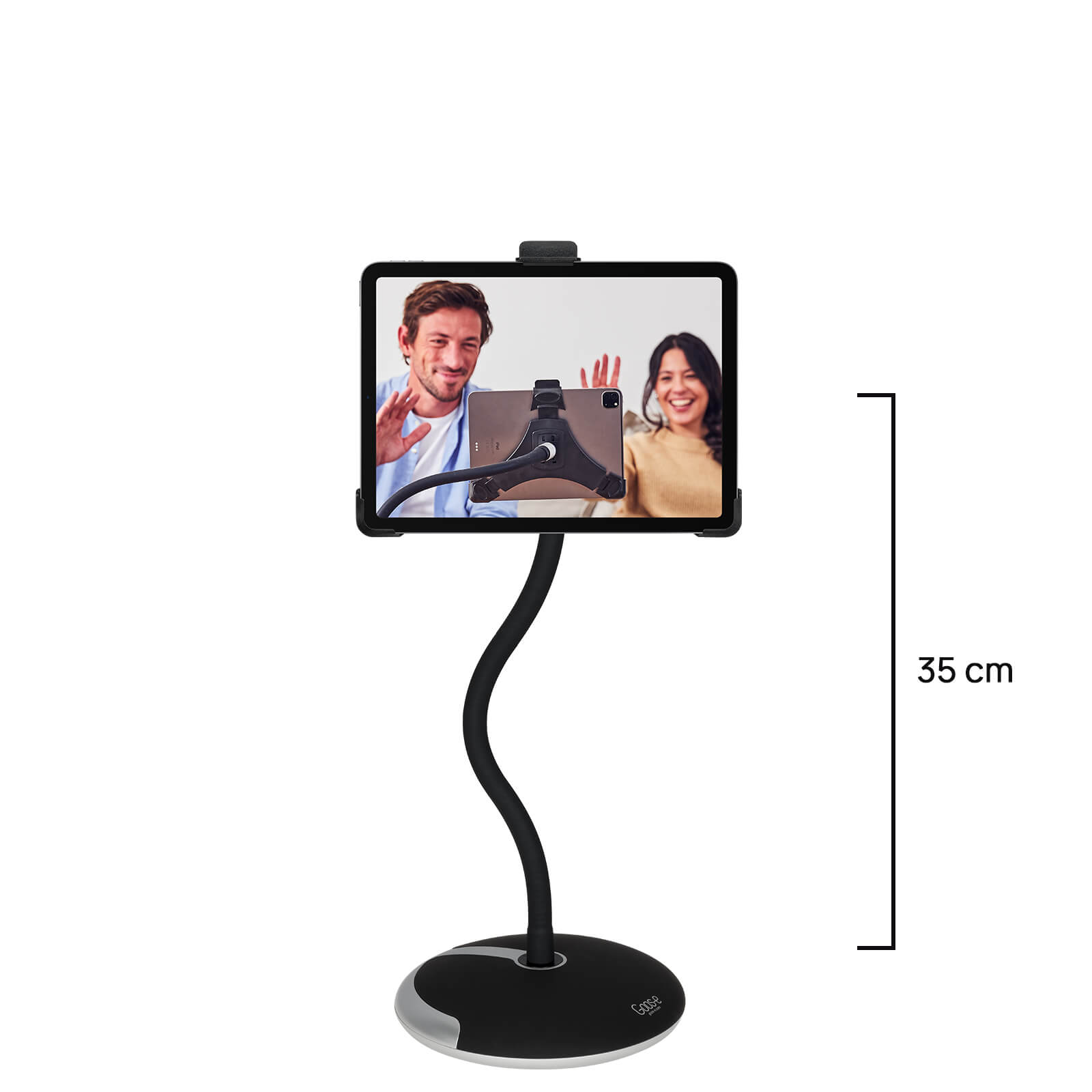 Met deze tablet houder plaats jij je scherm precies zoals jij wil. de stabiele voet (ruim 4 kg) houdt de ipad ...